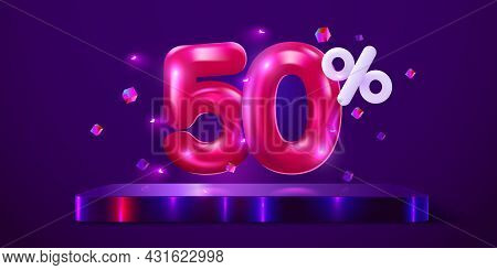 50 Percent Off. Discount Creative Composition. Mega Sale Neon Banner.