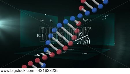 Image of dna strand spinning over equations on screens. global science, digital interface and networks concept digitally generated image.