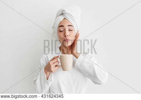 Good Morning, Energetic Lady Enjoy Fresh And Delicious Coffee