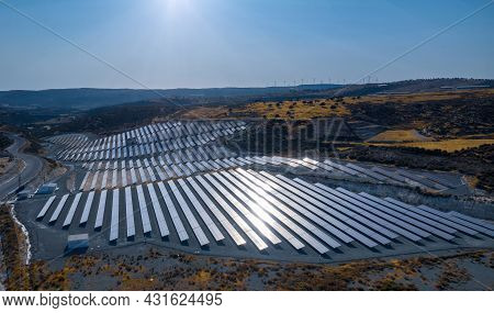 Solar Electric Farm With Panels For Producing Clean Ecologic Energy In Pissouri, Cyprus