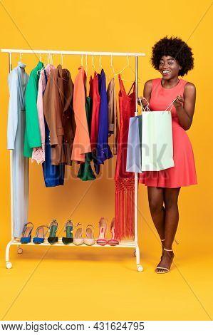 Black Woman Looking Into Shopper Bag After Shopping, Studio Shot