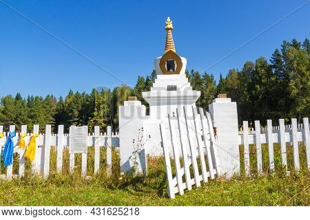 Open Broken Wooden White Gate In The Fence Enclosing The Ritual Buddhist Stupa Of A Enlightenment Ag