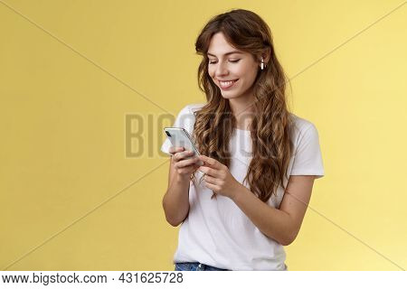 Happy Caring Tender Feminine Girlfriend Curly Long Hair Hold Smartphone Picking Song Listen Way Home