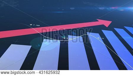 Image of pink arrow pointing up, scopes scanning and data processing on screens. global connections, technology and digital interface concept digitally generated image.
