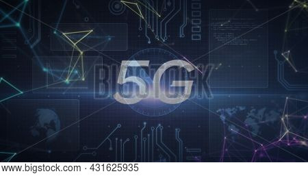Image of 5g text over scopes scanning and data processing with globe and world map on screens. global connections, technology and digital interface concept digitally generated image.