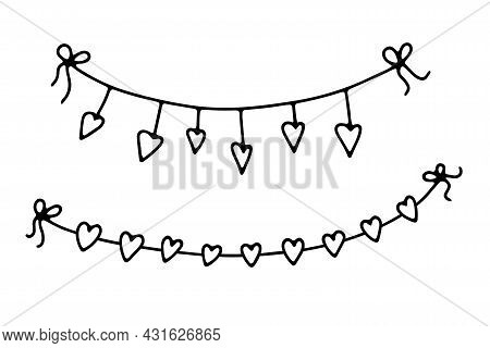 Doodle Valentines Day Garlands Set. Hand-drawn Festoon Isolated On White Background. Outline Festive