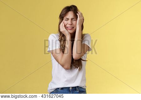 Offended Silly Timid Insecure Girl Crying Feel Scared Insulted Close Eyes Whining Grab Head Being Vi
