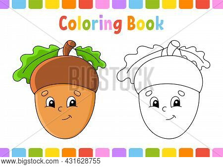 Coloring Book For Kids. Autumn Theme. Cartoon Character. Vector Illustration. Fantasy Page For Child