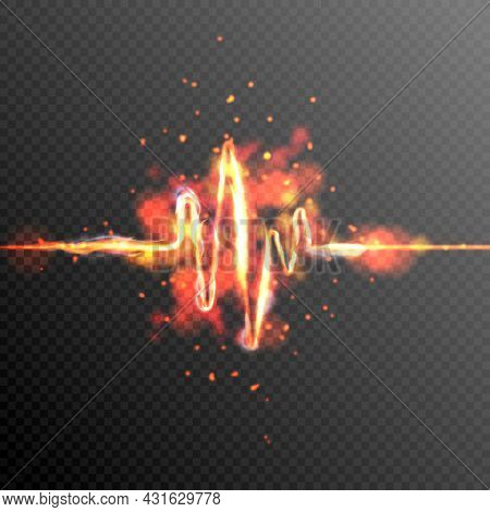 Heart Beat 3d Wave On Transparent Background. Abstract Heartbeat Or Cardiogram In Form Of Fire With