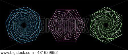 Set Of Twisted Colored Spirals. Sacred Geometry. Tunnel With Lines In The Form Of A Circle And Hexag