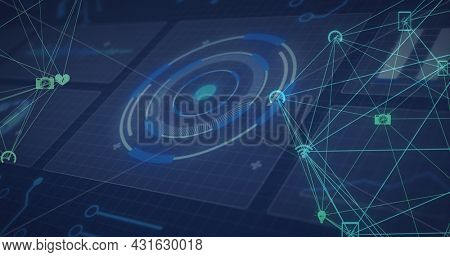 Image of scopes scanning and networks of connections on screens. global connections, technology and digital interface concept digitally generated image.