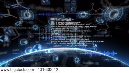 Image of scientific data processing and scopes scanning on screens over globe and sun. global connections, science, technology and digital interface concept digitally generated image.