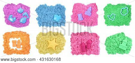 Set With Different Figures, Toys And Colorful Kinetic Sand On White Background, Top View. Banner Des