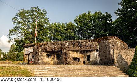 Wegierska Gorka, Poland, 08.07.2021. Wedrowiec Fort In Wegierska Gorka. World War Ii Bunker, Now Mus