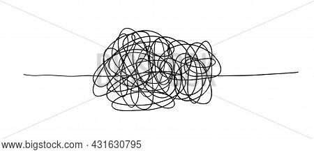 Vector Random Chaotic Lines Isolated On White Background.