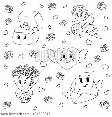 Coloring Book For Kids. Valentine's Day Clipart. Cheerful Characters. Vector Illustration. Cute Cart