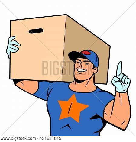 Strong Man Courier Delivery In A Box. Online Store Service