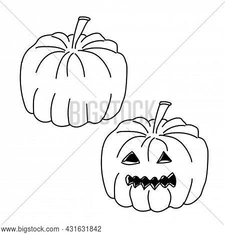 Pumpkin Jack With Carved Halloween Face Isolated On White Background