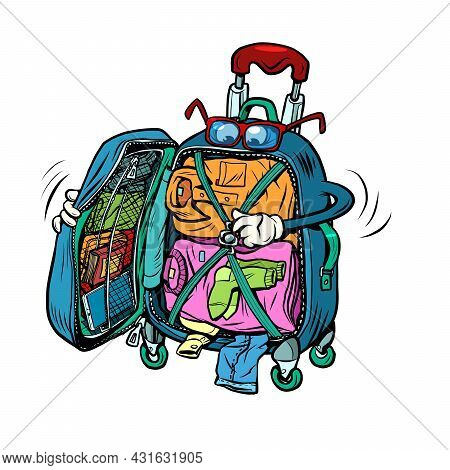 Travel Suitcase Character Packs Clothes, Vacation Trip And Tourism