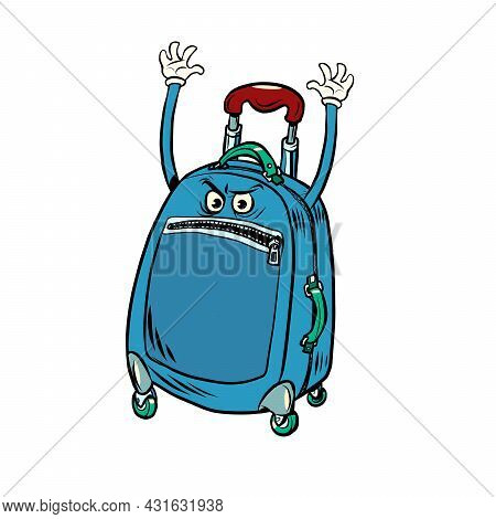 Funny Angry Tourist Suitcase With Raised Hands. Border And Customs Control
