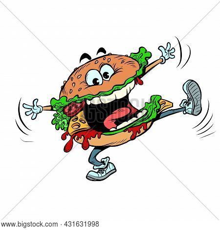 Funny Burger Character. Joyful Fast Food. Isolate On A White Background