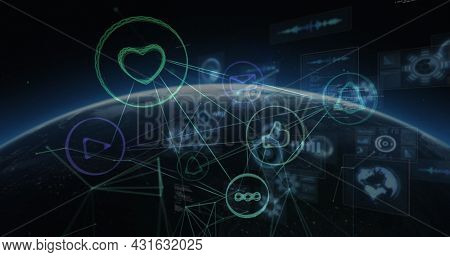 Image of network of connections with digital icons and data processing on screens over globe. global connection, technology and digital interface concept digitally generated image.