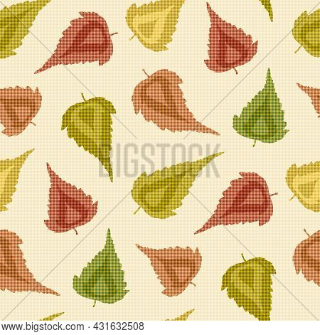Pointy Birch Leaves Seamless Vector Pattern Background. Hand Drawn Autumn Leaves In Orange, Green, R