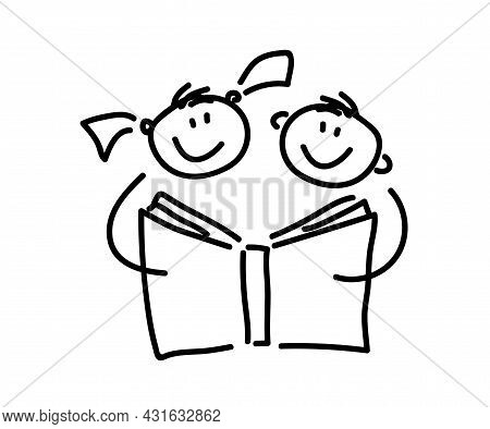 Children Are Reading A Book. Sketch. Vector Illustration.