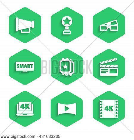 Set Cinema Ticket, Online Play Video, 4k Movie, Tape, Frame, Movie Clapper, Laptop With, Screen Tv S