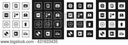 Set Online Play Video With 4k, Cinema Camera, Movie, Tape, Frame, Film Reel, Ticket, Paper Glass Wat