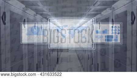 Image of data processing on digital screens over tech room with computer servers. global data processing and technology concept digitally generated image.