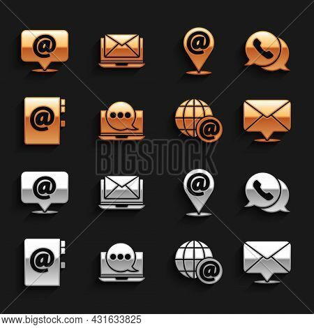 Set Chat Messages Notification On Laptop, Telephone With Speech Bubble Chat, Envelope, Earth Globe M