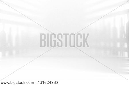 White Blur Abstract Room Interior Background And Lights.3d Illustration. Blank Space Soft Gradient W