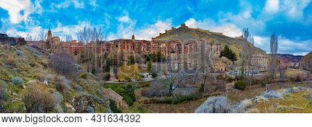 Medieval Village Houses, Moorish Castle And Ancient City Walls In Nature Over Mountains.panorama Vie