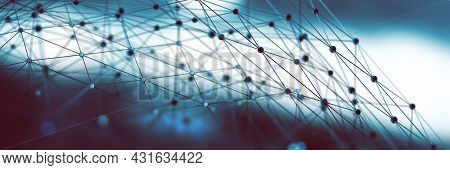 Global Network Connection And Communication Concept.abstract Tech Background.3d Illustration