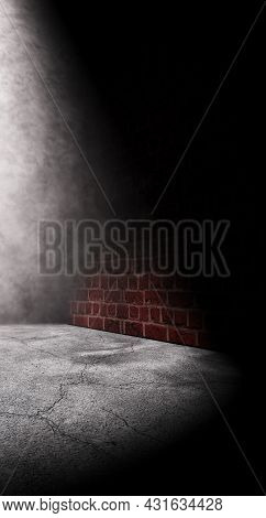 Cement Floor And Brick Wall.street And Urban Background.night And Postlamp Light.empty Dark Space.3d