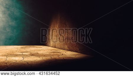 Cracked Dirt Floor And Street Wall In The Dark Of Night.empty Dark Space.3d Illustration