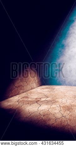 Cracked Dirt Floor And Street Wall In The Dark Of Night.vertical Format Image.empty Dark Space.3d Il