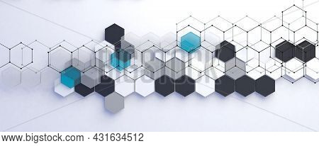 3d Illustration Related To Technology And Science.abstract Hexagon And Data Background.