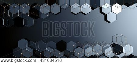 Abstract Background Of Technology And Science. Mesh Or Net With Lines And Geometric Shapes Detail.3d