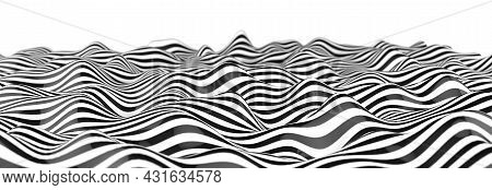 Optical Art Abstract Background Wave Design Black And White.abstract 3d Illustration Geometrical Bac