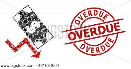 Dollar Down Trend Star Mosaic And Grunge Overdue Stamp. Red Stamp With Grunge Style And Overdue Phra
