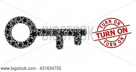 Key Star Mosaic And Grunge Turn On Stamp. Red Seal With Grunge Style And Turn On Word Inside Circle.