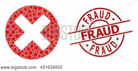 Cancel Sign Star Mosaic And Grunge Fraud Stamp. Red Watermark With Grunge Surface And Fraud Text Ins