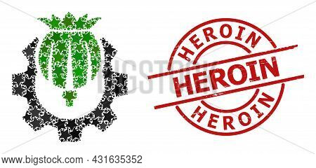 Opium Industry Star Pattern And Grunge Heroin Seal. Red Seal With Unclean Style And Heroin Slogan In