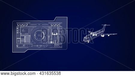 Image of 3d airplane drawing with scope scanning and data processing. global aviation industry, technology, data processing and digital interface concept digitally generated image.