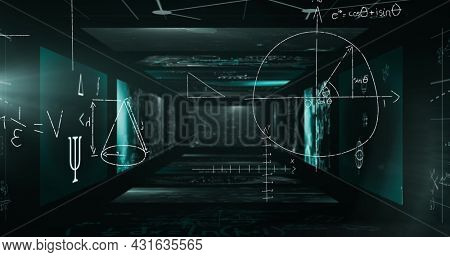 Image of mathematical formulae over a tunnel made of screens showing mathematical equations floating. Science and research concept digitally generated image