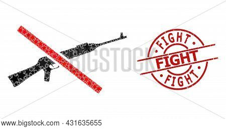 Stop Kalashnikov Gun Star Mosaic And Grunge Fight Seal. Red Seal With Corroded Style And Fight Capti