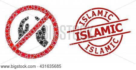 Forbid Praying Hands Star Mosaic And Grunge Islamic Seal Stamp. Red Stamp With Grunge Surface And Is