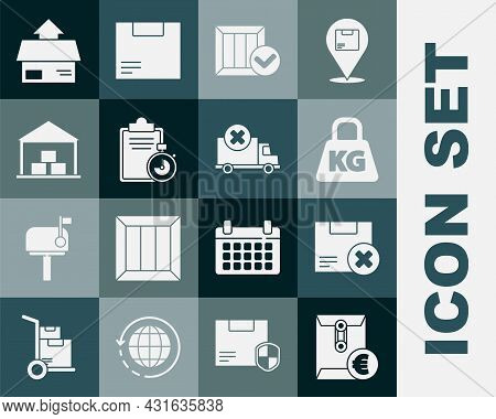 Set Envelope With Euro Symbol, Carton Cardboard Box And Delete, Weight, Wooden Check Mark, Verificat